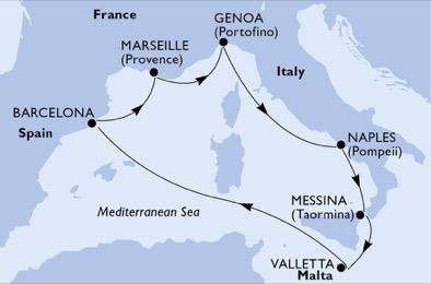 Msc Grandiosa - Itinerario